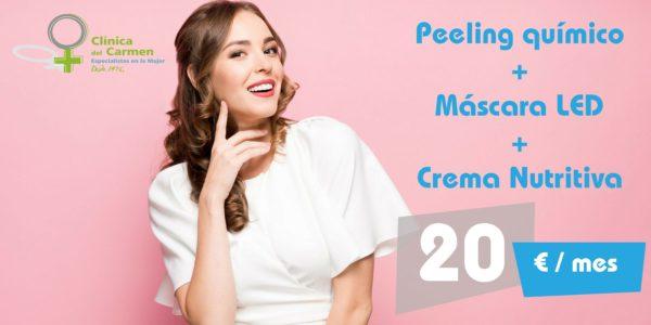 Peeling Químico + Máscara Led + Tratamiento Crema Nutritiva ( 3 sesiones )